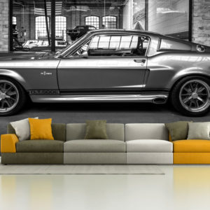Fototapet Masina Ford Shelby GT 500E Alb-Negru