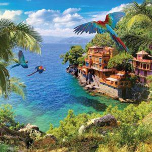 Fototapet Paradis Exotic 01 - Pasari, Mare, Ocean, Palmieri, Flori, Tropical