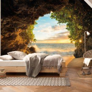 Fototapet 3D Hide Out Pestera Natura Peisaj Plaja
