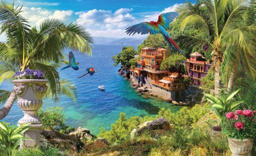 Paradis Exotic 01 - Pasari, Palmieri, Ocean, Vaze cu Flori, Padure Tropicala