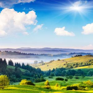 Fototapet 3D Peisaj Natura - Dealuri si campie