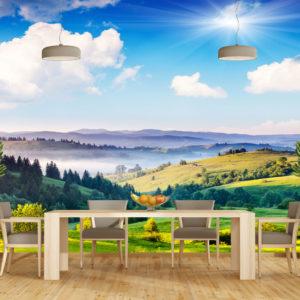 Fototapet 3D Peisaj Montan 01-0138 - Simulare Interior Bucatarie