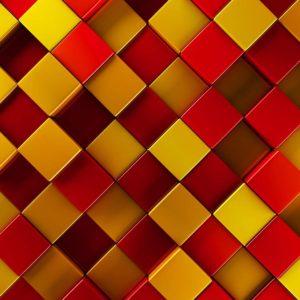 Fototapet Abstract 22 Cuburi Portocalii si Rosii