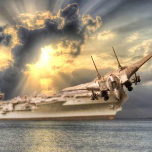Fototapet 3D Avion de lupta si portavion 02