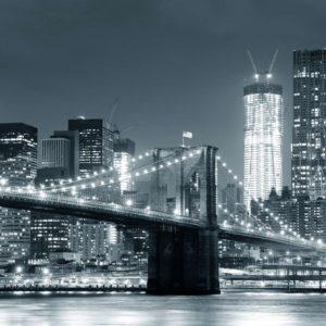 New York Podul Brooklyn Noaptea Alb-Negru Tapet Foto