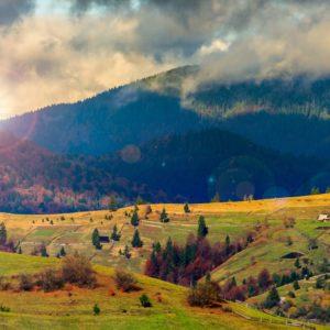 Soare printre dealuri - Fototapet 3D Dealuri 07