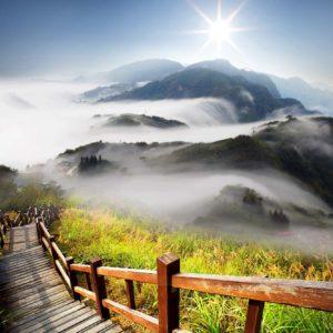 Tapet Foto - Peisaj Montan Nori Soare Pod