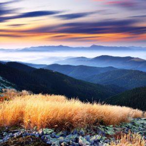 Fototapet 01-0139 - Peisaj Montan Apus rasarit Nori