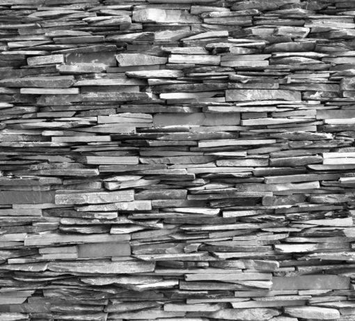 Fototapet Perete din piatra alb-negru 3D