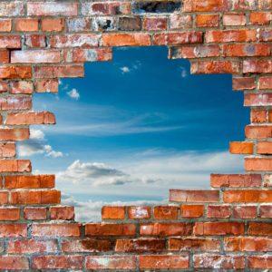 Tapet 3D Perete din caramida, fundal cer cu nori - Fox 21 0139