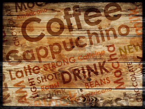 Fototapet Cafea Text pe Lemn Fox-25-0102
