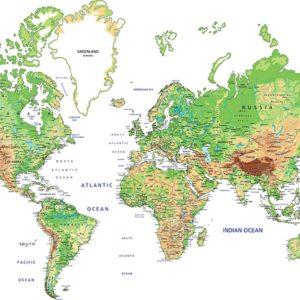 Fototapet Harta Lumii 02 - Fundal Alb