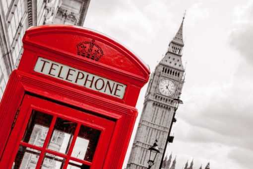 Fototapet Londophone Londra Anglia Cabina Telefonica
