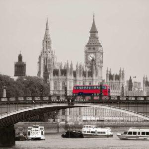 Tapet Foto Londra 16 - Big Ben, Pod, Autobuz Roșu