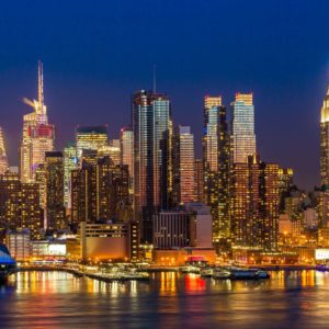 Fototapet New York Skyline - Noaptea