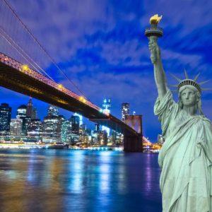 Fototapet New York 09 Podul Brooklyn Statuia Libertatii 09