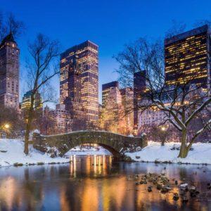 Tapet Foto New York Central Park 12 Iarna Zapada Seara
