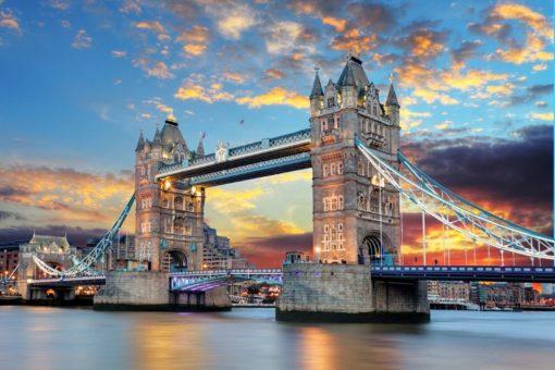 Londra - Anglia - Pod Tower Bridge - Seară - Tapet Foto