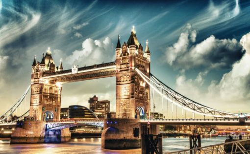 Londra - Anglia - Pod Tower Bridge - Seară - Tapet Foto