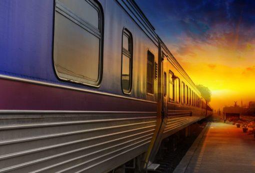 Fototapet Vagoane Trenuri 05 - Apus de soare
