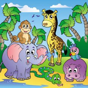 Fototapet pentru copii - Desen cu animale 03