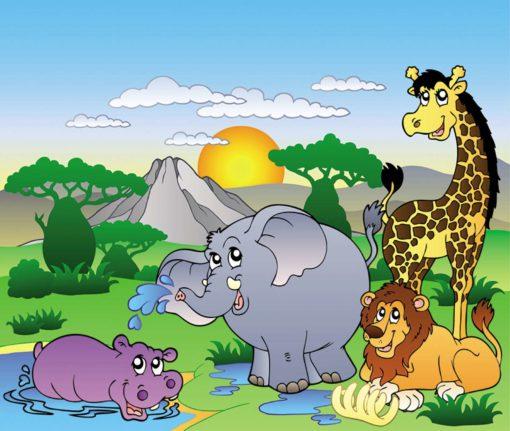 Fototapet pentru copii - Desen cu animale 04