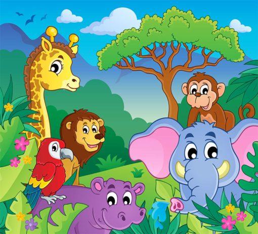 Tapet foto pentru copii: Desen animale 05
