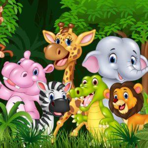 Fototapet pentru camera copiilor - Desen cu animale Fox-10-0111