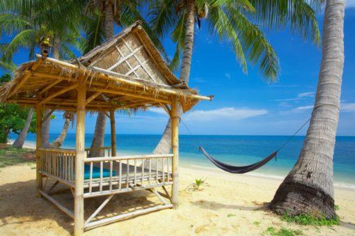 Fototapet Peisaj Tropical 04 - Plaja Palmieri Hamac