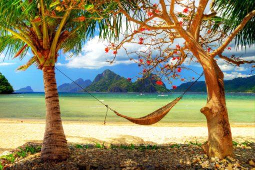 Fototapet Peisaj Tropical 05 - Palmieri Hamac Plaja Insula
