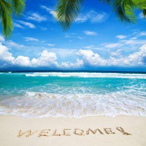 Plaja 04 - Tapet Foto 3D plaja, valuri, text Welcome!