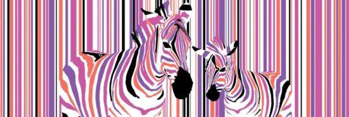 Tablou Canvas Zebre Colorate 57 x 150 cm GCN24849
