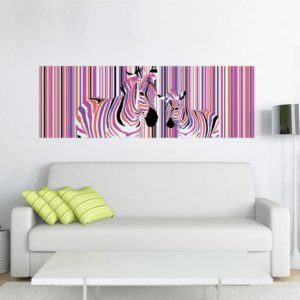 Tablou Canvas Zebre Colorate 57 x 150 cm GCN24849 Interior