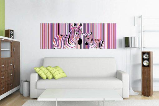 Tablou Canvas Zebre Colorate 57 x 150 cm GCN24849 Interior