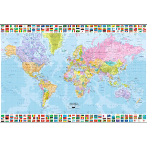 Poster Harta Lumii cu Steaguri