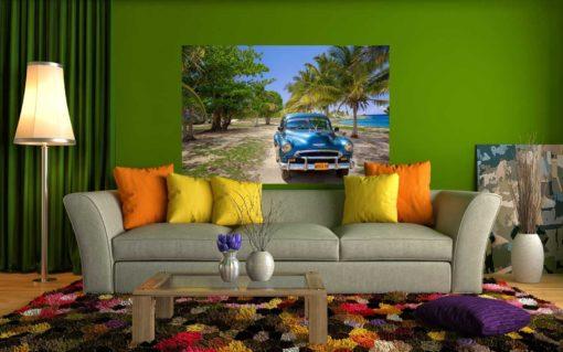 Fototapet Masini 01 - Peisaj Tropical Cuba si Masina Retro Chevrolet - Interior 02