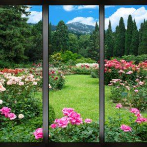 Tapet Foto Gradina 21 - Fereastra, flori, munti, brazi