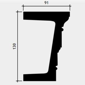Arhitravă model 1.26.003, secțiune și dimensiuni
