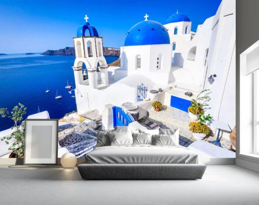 Tapet Foto Santorini 01-2 - Simulare Interior Dormitor