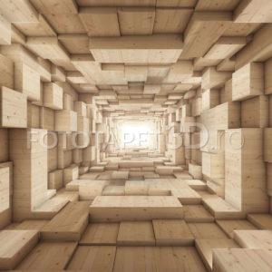 Fototapet Coridor Abstract - Lemn