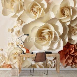 Fototapet Floral - Trandafiri Bej