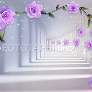Fototapet Perspectiva Alba Trandafiri Violet