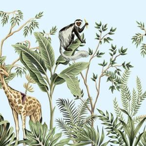 Fototapet pentru copii - Plante Tropicale si Animale