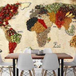 Fototapet pentru Bucătărie - Harta Condimentelor