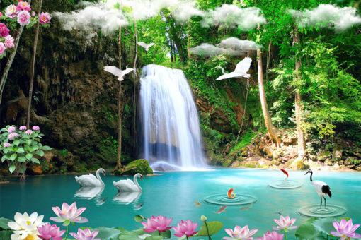 Fototapet Cascadă - Faună Asiatică - Dimensiuni Personalizate