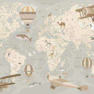 Fototapet harta lumii pentru copii bej