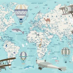 Harta lumii pentru copii albastru