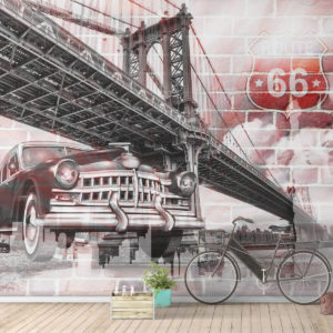 Fototapet abstract Podul Brooklyn - Route 66