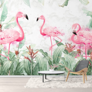 Fototapet Flamingo printre Plante