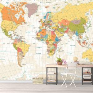 Tapet Harta Lumii Culori Calde